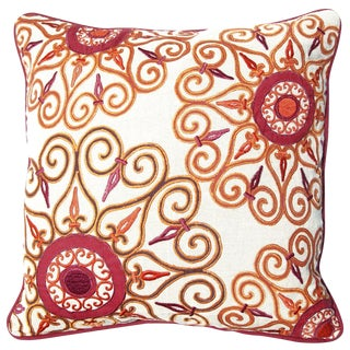 Mandala Embroidered Linen Down Pillow