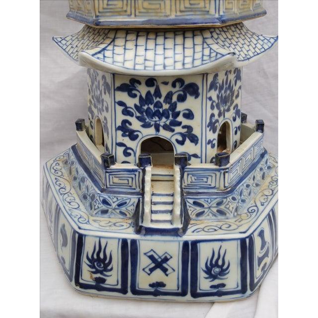 Image of Tall Blue & White Vintage Porcelain Pagoda