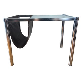 Mid-Century End Table Sling Magazine Holder