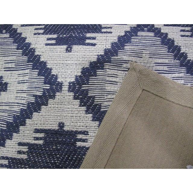 Blue/White Jacquard Indian Silk Rug - 5′1″ × 7′9″ - Image 3 of 5