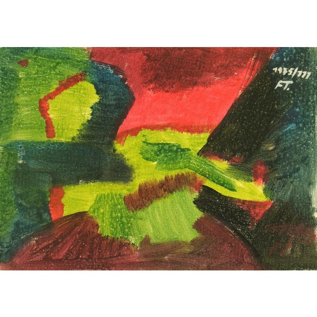 Image of Vintage 1975 Original Abstract Painting
