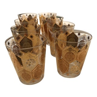 Set of 8 Century Gold Hi-Ball Glasses