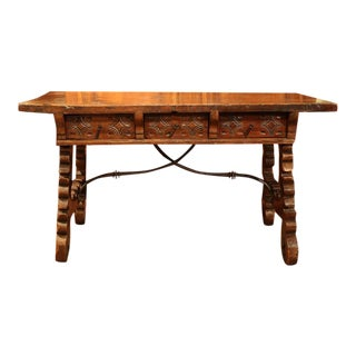 18th Century Spanish Carved Walnut Table Desk