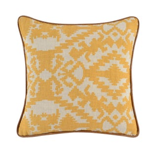 Yellow Abstract Linen Pillow