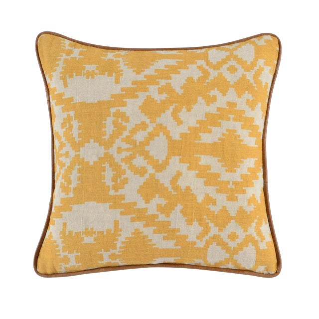 Yellow Abstract Linen Pillow - Image 1 of 2