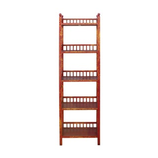 Chinese Distressed Red Yellow Simple Slim Display Bookcase Cabinet