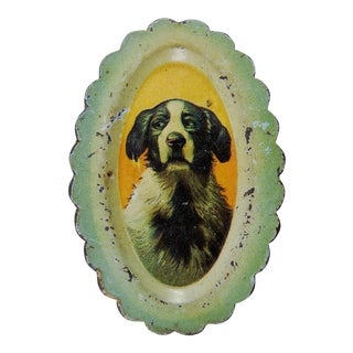 Antique Tray With Dog Advertising Clover Shoes