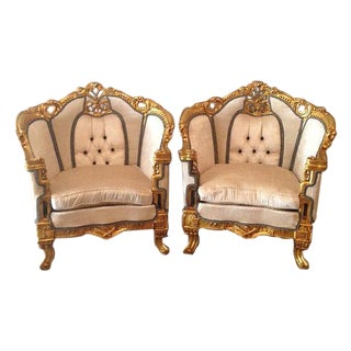 Louis XVI-Style Throne Chairs- A Pair