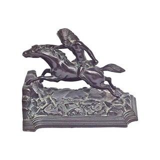 Vintage Bronze Native American Horseman Bookend