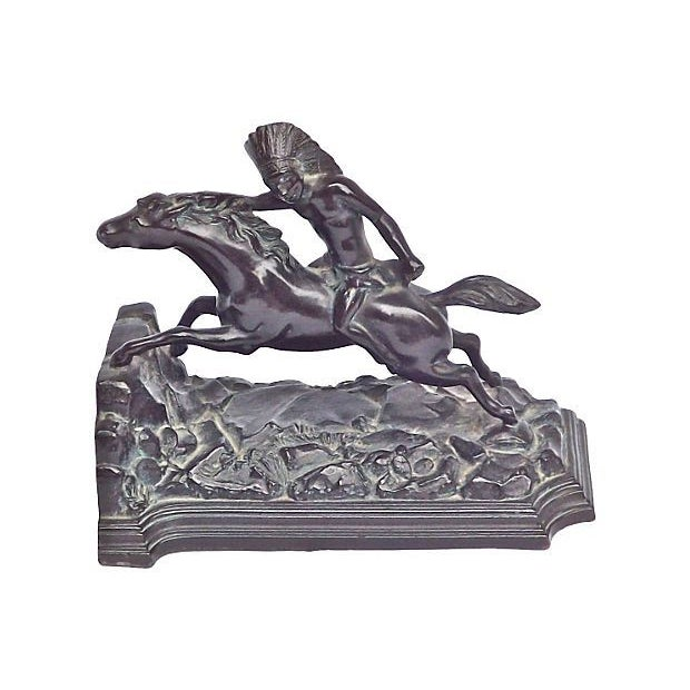 Image of Vintage Bronze Native American Horseman Bookend