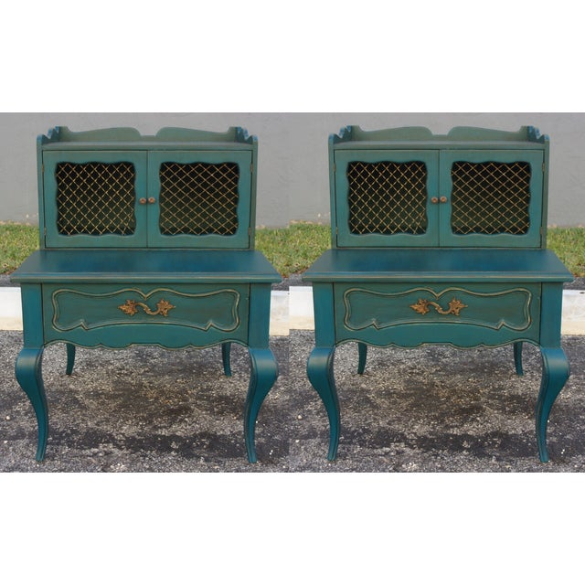 Mid-Century Blue Nightstands - Pair - Image 4 of 9