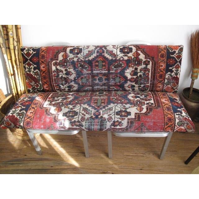 50s Good Form Chairs Turned Antique Rug Bench