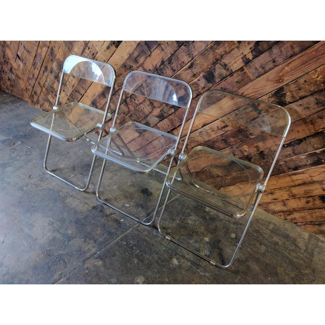 Piretti for Castelli 1970s Lucite and Chrome Folding Chairs - Set of 3 - Image 2 of 6