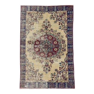 Vintage Distressed Turkish Oushak Rug - 5′3″ × 8′3″