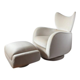 1970s Vladimir Kagan Swivel Lounge Mohair Chair and Ottoman