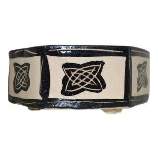 Japanese Geometric Black & White Ceramic Handmade Bowl