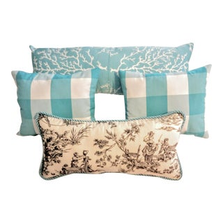 """Check the Toile and Coral!"" Pillows - Set of 4"
