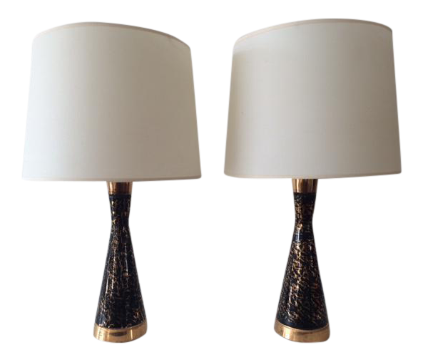 Vintage Mid Century Black And Gold Ceramic Table Lamps   A Pair