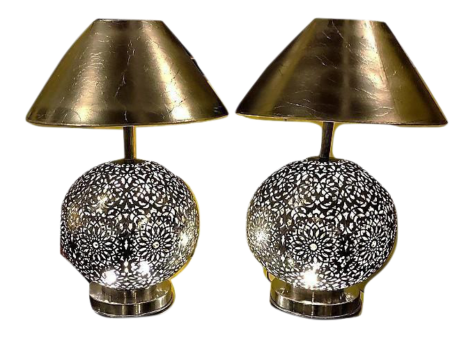 White Brass Moroccan Table Lamps   A Pair