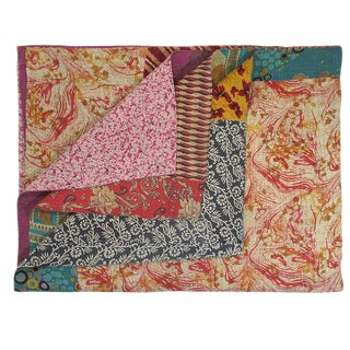 Colorful Patch Vintage Kantha Quilt