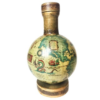 Vintage Mid Century World Globe Map Glass Decanter