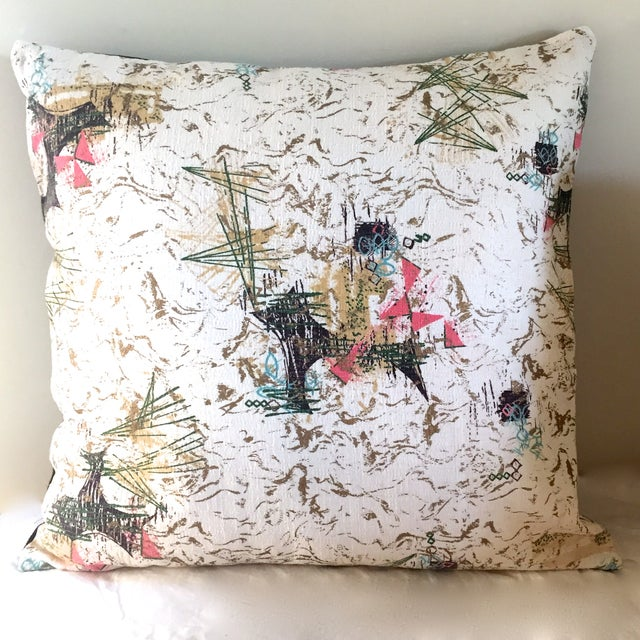 Mid-Century Barkcloth Pillow - Image 2 of 5