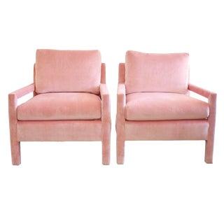 Milo Baughman Parsons Style Pink Velvet Lounge Chairs - A Pair