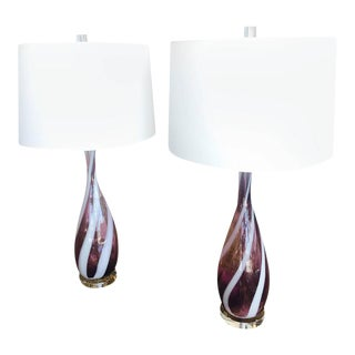 Vintage Murano Glass Italian Table Lamps, 1950s - a Pair