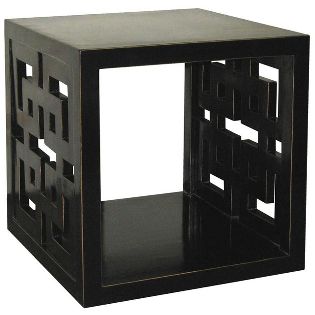 Black Lacquer Lattice Panel Cube Table - Image 1 of 2
