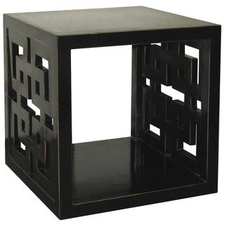 Black Lacquer Lattice Panel Cube Table