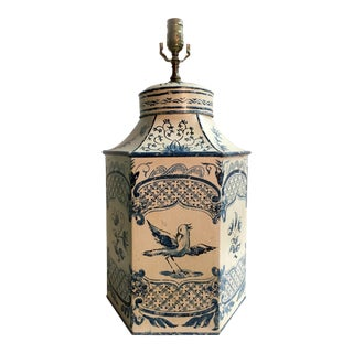 White & Blue English Tea Caddy Lamp