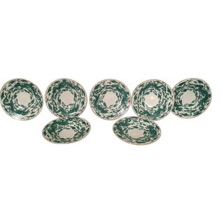 Dragon Motif China Gold-Rimmed Bowls - Set of 7