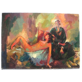 1960s Modernist Figurative Oil Painting