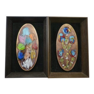 Mickie Caspi Enameled Copper Plaque - A Pair