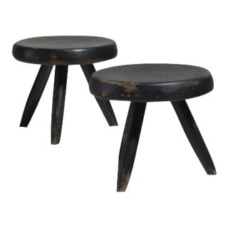 Pair of Charlotte Perriand Low Black Ash Tripod Stools, France, 1950s-1960s