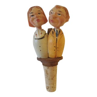 German Kissing Couple Wine Cork