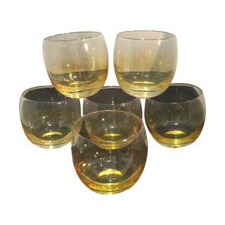 Yellow Iridescent Brandy Glasses - Set of Six