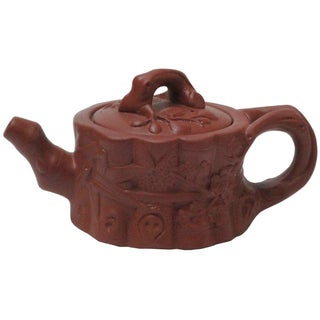 Chinese Zisha Teapot with Root & Floral Motif