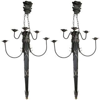 Fit for a King and His Castle! Gothic Renaissance Designed Wall Metal and Wood Wall Sconces!