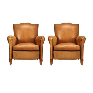 1940s Conserved Original French Leather Moustache-Back Club Chairs - A Pair