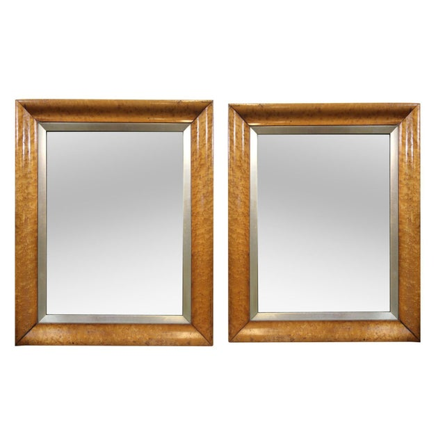 Birds-Eye Maple Frame Mirrors - A Pair - Image 1 of 5