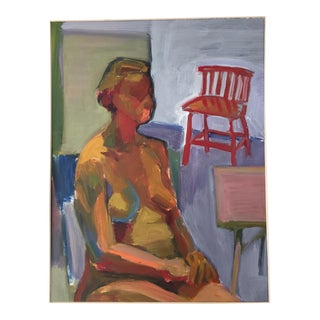 Original Abstract Painting of Seated Nude