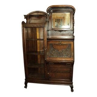 Antique Oak Secretary Desk Display Cabinet