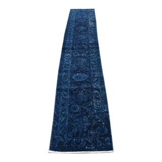 1960's Vintage Persian Dark Blue Handwoven Runner- 1′6″ × 9′10″