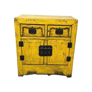 Yellow Distressed Asian Style Cabinet