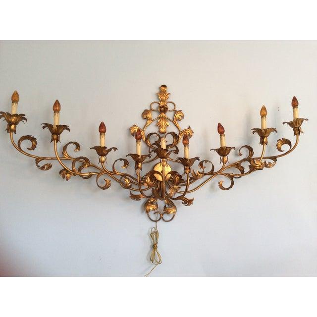 Italian Gilt Nine Light Sconce - Image 2 of 6