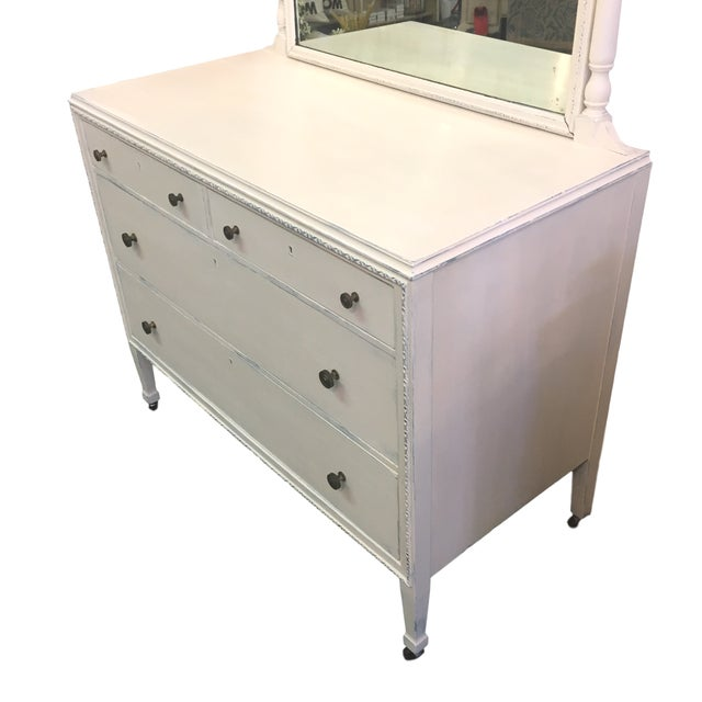Image of Vintage Hand Painted Dresser & Mirror