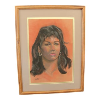 Vintage Bette Pastel Portrait of a Woman Drawing