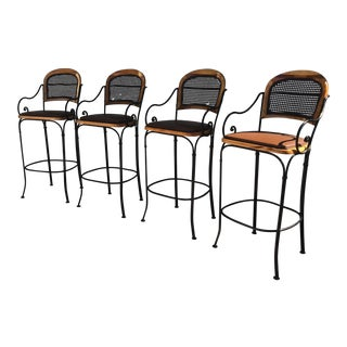 Vintage Maitland Smith Iron & Wood Bar Stools - Set of 4