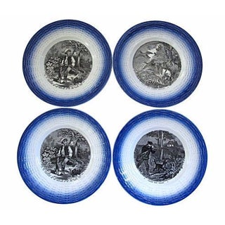 Vintage French Flow Blue Hunting Plates - S/4